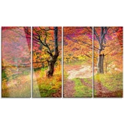 DesignArt 'Bright Colorful Fall Trees in Forest' 4 Piece Photographic Print on Canvas Set