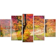 DesignArt 'Bright Colorful Fall Trees in Forest' 5 Piece Photographic Print on Canvas Set