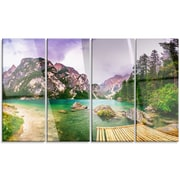 DesignArt 'Mountain Lake Between Mountains' 4 Piece Photographic Print on Canvas Set