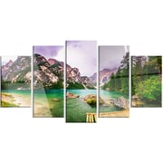 DesignArt 'Mountain Lake Between Mountains' 5 Piece Photographic Print on Canvas Set