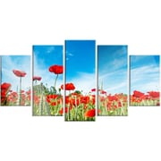 DesignArt 'Red Poppy Garden Under Clear Sky' 5 Piece Photographic Print on Canvas Set