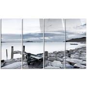 DesignArt 'Small Sea Bridge from Rocky Beach' 4 Piece Photographic Print on Canvas Set