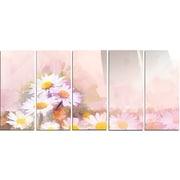 DesignArt 'Gerbera Flowers on Soft Color Back' 5 Piece Painting Print on Canvas Set