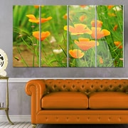 DesignArt 'Bright Yellow Poppy Flowers' 4 Piece Photographic Print on Canvas Set