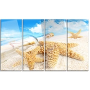 DesignArt 'Message in Bottle Buried in Sand' 4 Piece Photographic Print on Canvas Set