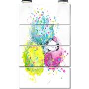 DesignArt 'Cute White Dog w/ Color Spheres' 4 Piece Graphic Art on Canvas Set