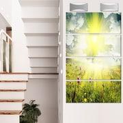 DesignArt 'Mountains Pasture Under Bright Sunset' 4 Piece Photographic Print on Canvas Set