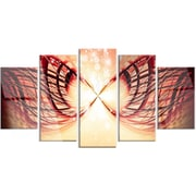 DesignArt 'Bright Light on Red Fractal Design' 5 Piece Graphic Art on Canvas Set
