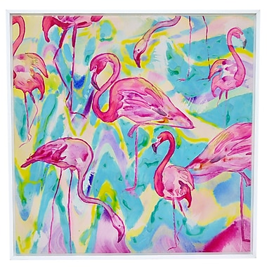 Three Hands Co. 'Tropical Flamingos' Framed Painting Print