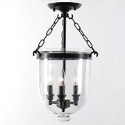 JoJoSpring Glass Lantern 3-Light Semi Flush Mount