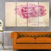 DesignArt 'Bunch of Peony Flowers on Table' 4 Piece Photographic Print on Canvas Set