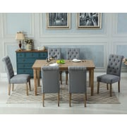 Roundhill Furniture Monotanian Solid Wood 7 Piece Dining Set; Gray