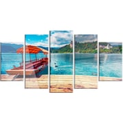 DesignArt 'Boat in Lake Bled in Julian Alps' 5 Piece Photographic Print on Canvas Set