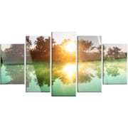 DesignArt 'Beautiful Summer River at Sunset' 5 Piece Photographic Print on Canvas Set