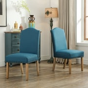 Roundhill Furniture Monotanian Solid Wood 7 Piece Dining Set; Blue