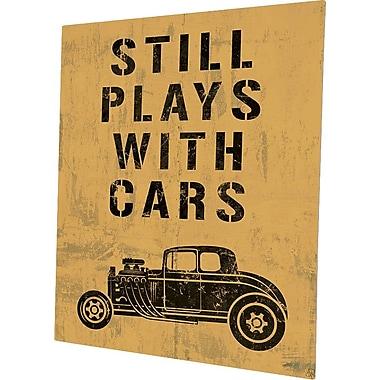 Click Wall Art 'Still Plays w/ Cars Yellow' Textual Art on Plaque; 14'' H x 11'' W x 0.04'' D
