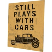 Click Wall Art 'Still Plays w/ Cars Yellow' Textual Art on Plaque; 30'' H x 20'' W x 0.04'' D