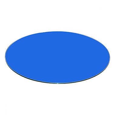 Fab Glass and Mirror Round Flat Tempered Back Painted Glass Table Top; Blue