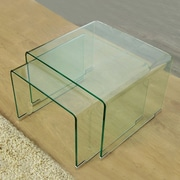Fab Glass and Mirror 2 Piece Clear Bent Glass Nesting Tables