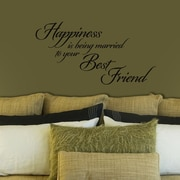 FiresideHome Happiness is Being Married to Your Best Friend Wall Decal; Black