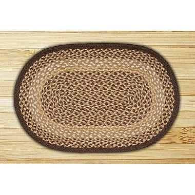 EarthRugs Chocolate/Natural Braided Area Rug; Oval 3' x 5'