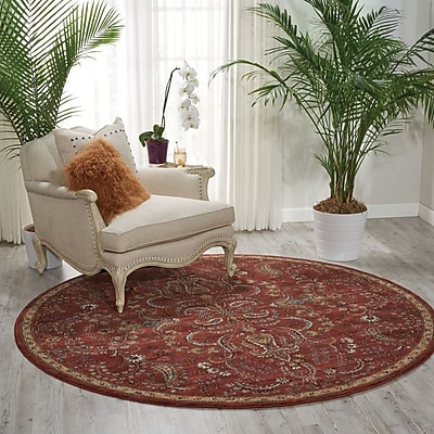 Charlton Home Mainville Red Area Rug; Round 7'5''
