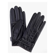 iPM Mens Faux Leather/Fleece Superwarm Super Stylish Black Leather Touchscreen Gloves With White Stitching (FURGLVES1)