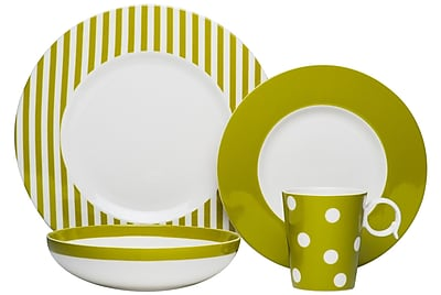 Red Vanilla Freshness 4 Piece Place Setting, Service for 1; Olive