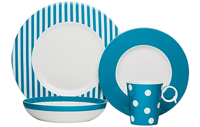 Red Vanilla Freshness 4 Piece Place Setting; Turquoise