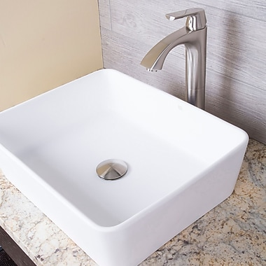 Vigo Marigold Stone Rectangular Vessel Bathroom Sink