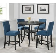 Roundhill Furniture 26'' Bar Stool w/ Cushion; Blue