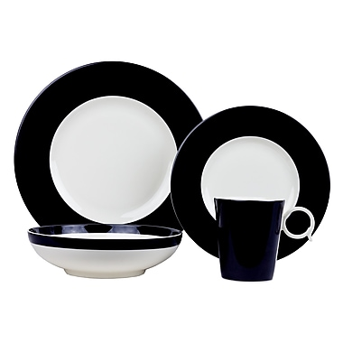 Red Vanilla Freshness 4 Piece Place Setting; Black
