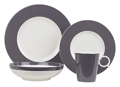 Red Vanilla Freshness 4 Piece Place Setting, Service for 1; Gray