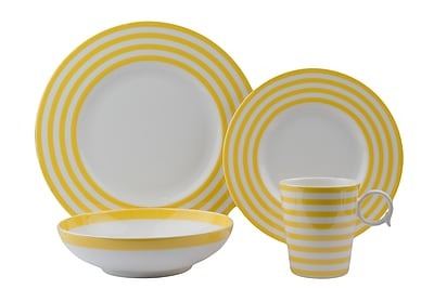 Red Vanilla Freshness 4 Piece Place Setting; Yellow WYF078279890172