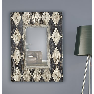 Majestic Mirror Rectangular Wood Framed Beveled Glass Wall Mirror