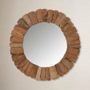 Jeffan Sedona Round Wall Mirror; Brown