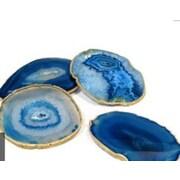 Mapleton Drive Gold Rimmed Agate Coaster (Set of 4)