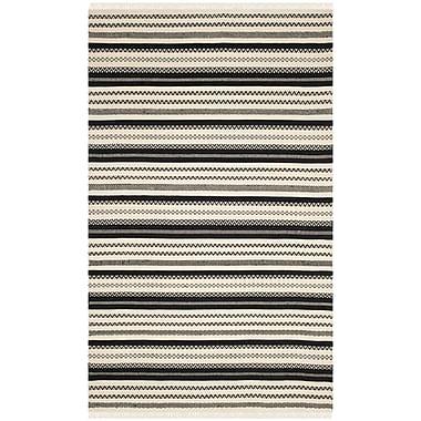 Gracie Oaks Mahanoy Hand-Woven Ivory/Black Area Rug; 8' x 10'