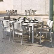 Latitude Run Farmington Contemporary 7 Piece Dining Set w/ Stackable Chairs; Charcoal