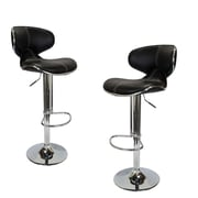BestMasterFurniture Adjustable Height Swivel Bar Stool w/ Cushion (Set of 2); Black