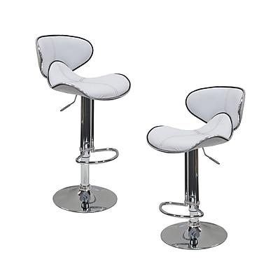 BestMasterFurniture Adjustable Height Swivel Bar Stool w/ Cushion (Set of 2); White