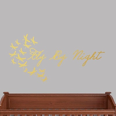 SweetumsWallDecals Fly by Night Wall Decal; Gold