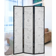 Roundhill Furniture 70'' x 52'' Botticelli Screen 3 Panel Room Divider w/ English Script Print