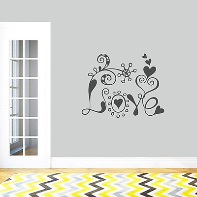 SweetumsWallDecals Funky Love Wall Decal; DarkGray