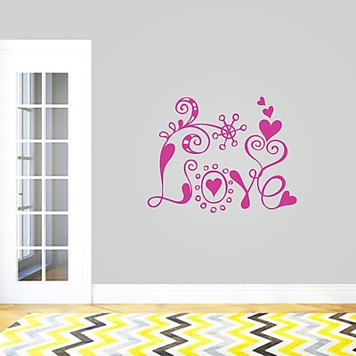 SweetumsWallDecals Funky Love Wall Decal; HotPink