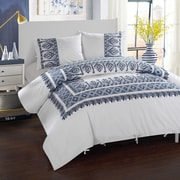 LUX-BED 3 Piece Sarita Garden Aztec Ribbon Embroidered Duvet Cover Set; King