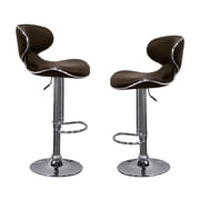 BestMasterFurniture Helix Modern Adjustable Swivel Bar Stool (Set of 2); Brown