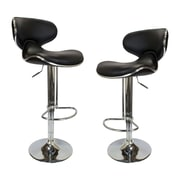 BestMasterFurniture Helix Modern Adjustable Swivel Bar Stool (Set of 2); Black