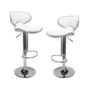 BestMasterFurniture Helix Modern Adjustable Swivel Bar Stool (Set of 2); White