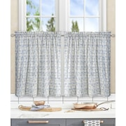 Ellis Curtain Breckan Ikat Check Tailored Tier Curtains (Set of 2); Blue